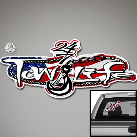 Tow Life Decal Sticker American Flag