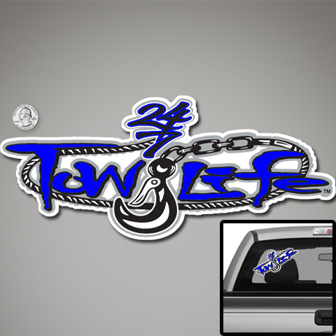Tow Life Decal Sticker Blue