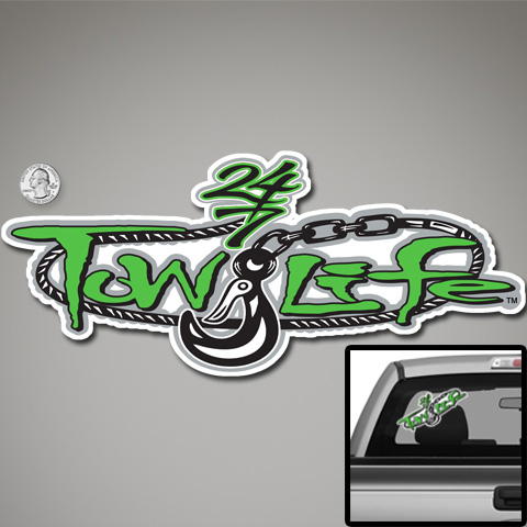 Tow Life Decal Sticker Green