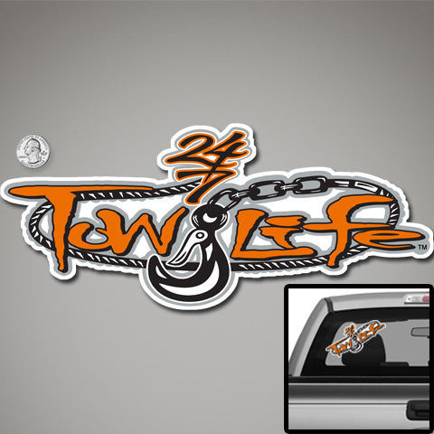 Tow Life Decal Sticker Orange