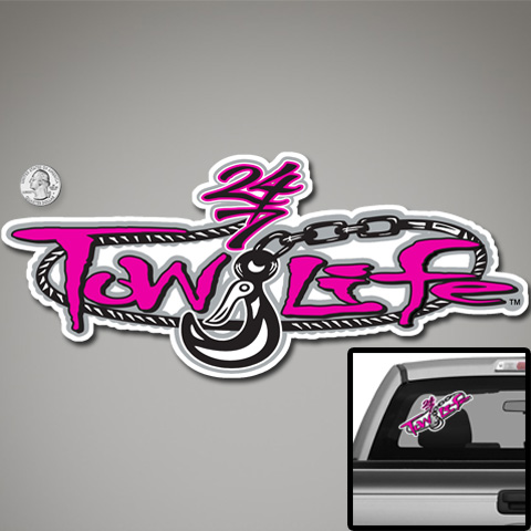 Tow Life Decal Sticker Pink