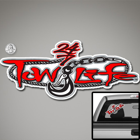 Tow Life Decal Sticker Red